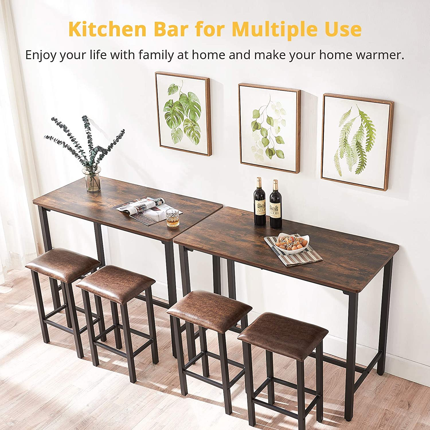 Smile Back Dining Table, Dining Table Set 9 Piece Bar Table with 9 Faux  Leather Barstools 9.9'' Breakfast Bar Kitchen Counter with Bar Chairs, ...