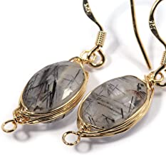 Genuine Natural Gemstone Wire Wrap Dangle Drop Earrings Gold Plated 925 Sterling Silver Hook/Black Rutile Quartz