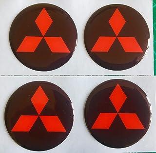 SCOOBY DESIGNS Mitsubishi Alufelgen Aufkleber, gewölbt, schwarz, rote Diamanten, Evo X4, Shogun LS200 Outlander (60 mm)