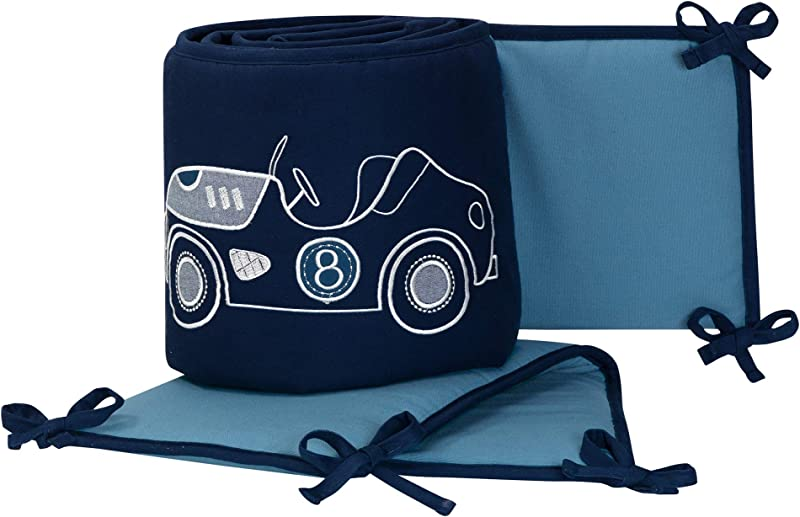 Lambs Ivy Metropolis Blue Embroidered Car Truck 4 Piece Baby Crib Bumper