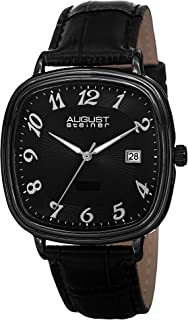 August Steiner Men's Funky Swiss Dress Watch - Radiant Dark Dial with Bonus Date Window on Black Genuine Leather Calfskin ...