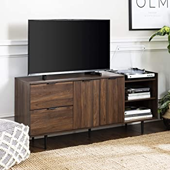 """Walker Edison Furniture Company Modern Wood Stand with Cabinet Doors and Drawers 65"""" Flat Screen Universal TV Console Living Room Storage Shelves Entertainment Center, 58 Inch, Walnut Brown"""