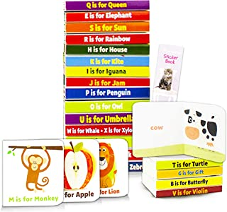 Animal ABC Board Book for Toddlers Babies Alphabet Board Book Set - Pack of 24 Animal Alphabet Mini Book Blocks with Stick...