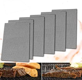 6 Pcs Food-Grade BBQ Grill Mesh Non-Stick Barbecue Mats Cooking Mat Reusable Grilling Liner Mesh Mat for Oven Microwave Ch...