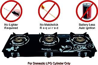 SURYAJWALA Auto Ignition Royal Designer GT03 Cast Iron 3 Burner Gas Stove
