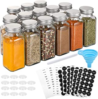 Aozita 14 Pcs Glass Spice Jars with Spice Labels - 6oz Empty Square Spice Bottles - Shaker Lids and Airtight Metal Caps - ...