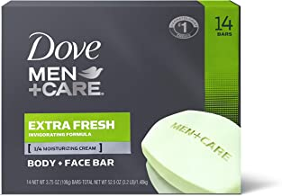 Dove Men+Care 3 in 1 Bar for Body, Face, and Shaving to Clean and Hydrate Skin Extra Fresh Body, (14 Count of 3.75 oz Bars) 52.5 oz