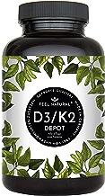 Vitamin D3 + K2 Tabletten - 180 Stück - Hochdosiert mit 5.000 IE Vitamin D3 und 200 µg Vitamin K2 pro EINER Tablette - K2 MK-7 aus Natto >99% All Trans – Ohne Zusätze, Hergestellt in Deutschland