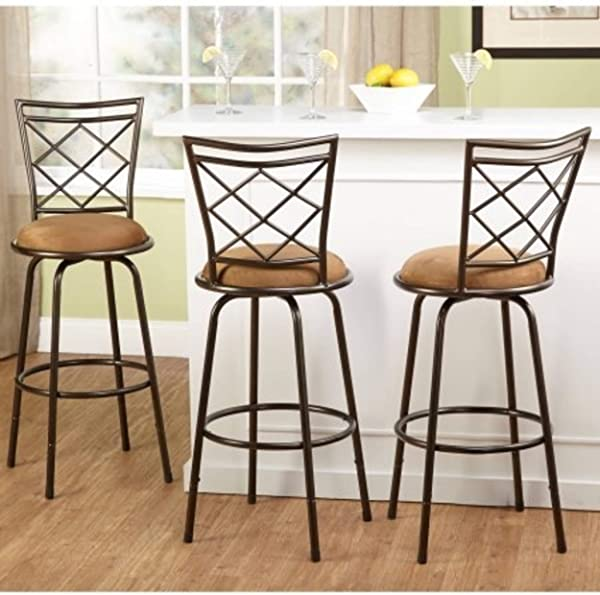 3 Piece Avery Ajustable Height Barstool Multiple Colors Brown