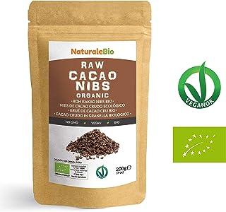 Nibs de Cacao Crudo Ecológico 200 g | 100 % Puntas de Cacao Bio, Natural