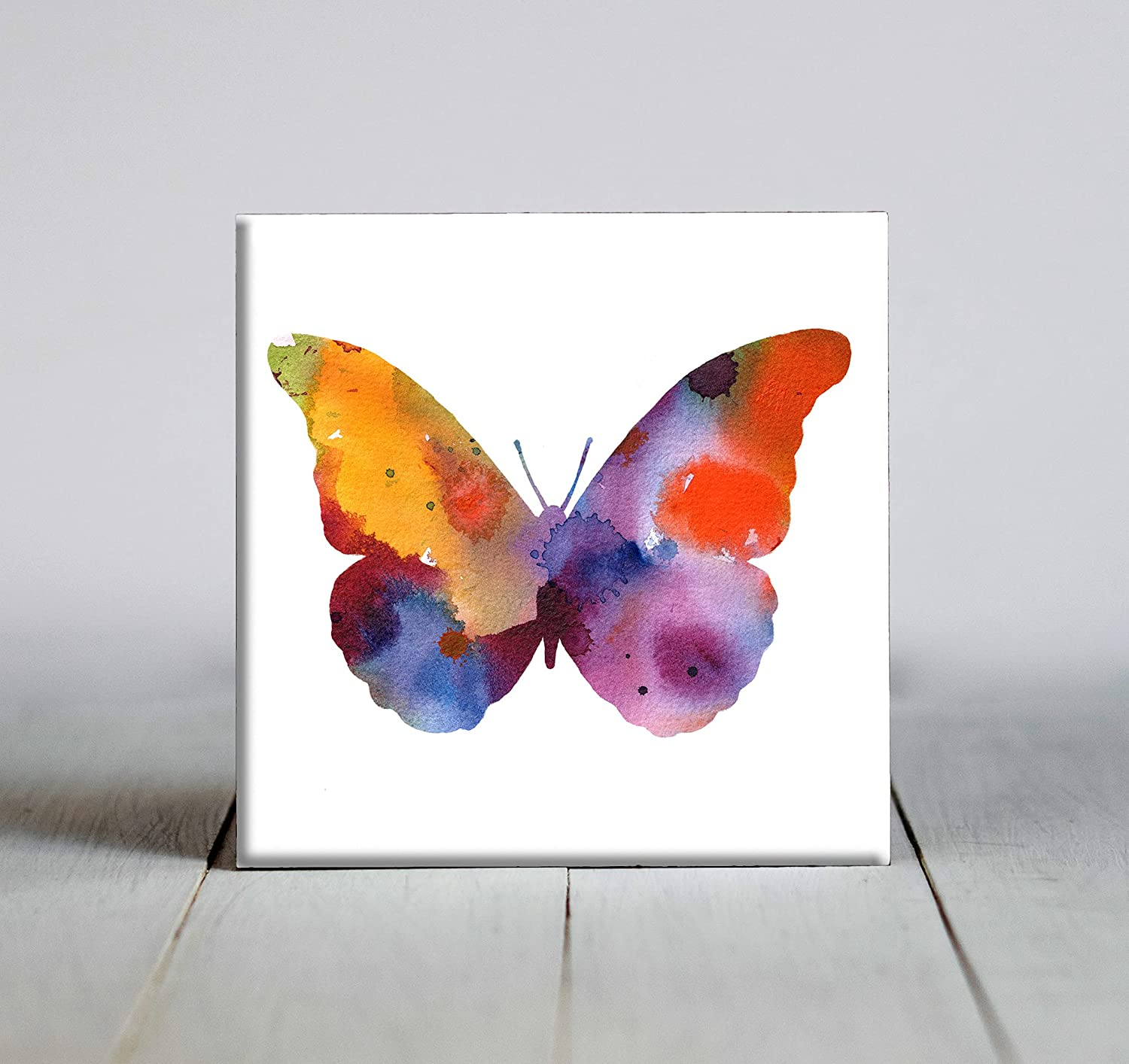 Abstract Butterfly Watercolor Art Decorative X 4.25 Tile Max 58% Fresno Mall OFF F