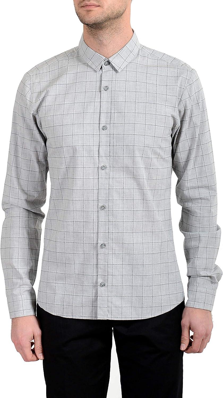 Hugo Boss Ero3-W Men's Extra Slim Plaid Long Sleeve Casual Shirt US M IT 50 Gray