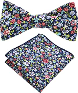Cotton Floral Self Tie Bow Tie and Pocket Square Set for Men