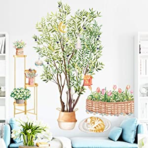 Olive Trees Potted Wall Stickers with Lazy Cat, Removable Green Tree Plant Flowerpot Wallpaper Decals, DIY Art Murals for Nursery Bedroom Living Room Office Background Home Decoration