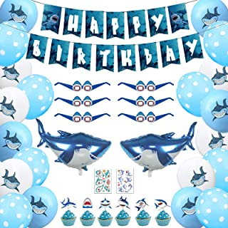 Shark Birthday Decorations Party Supplies, Shark Birthday Banner, 24pcs Shark Balloons, 2pcs Mylar Foil Shark Balloons, 6p...