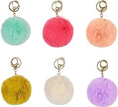 RufnTop 6 PCS PomPom KeyChain Gold Ring Hand bag Accessories(6 PCS PASTEL MIX2)