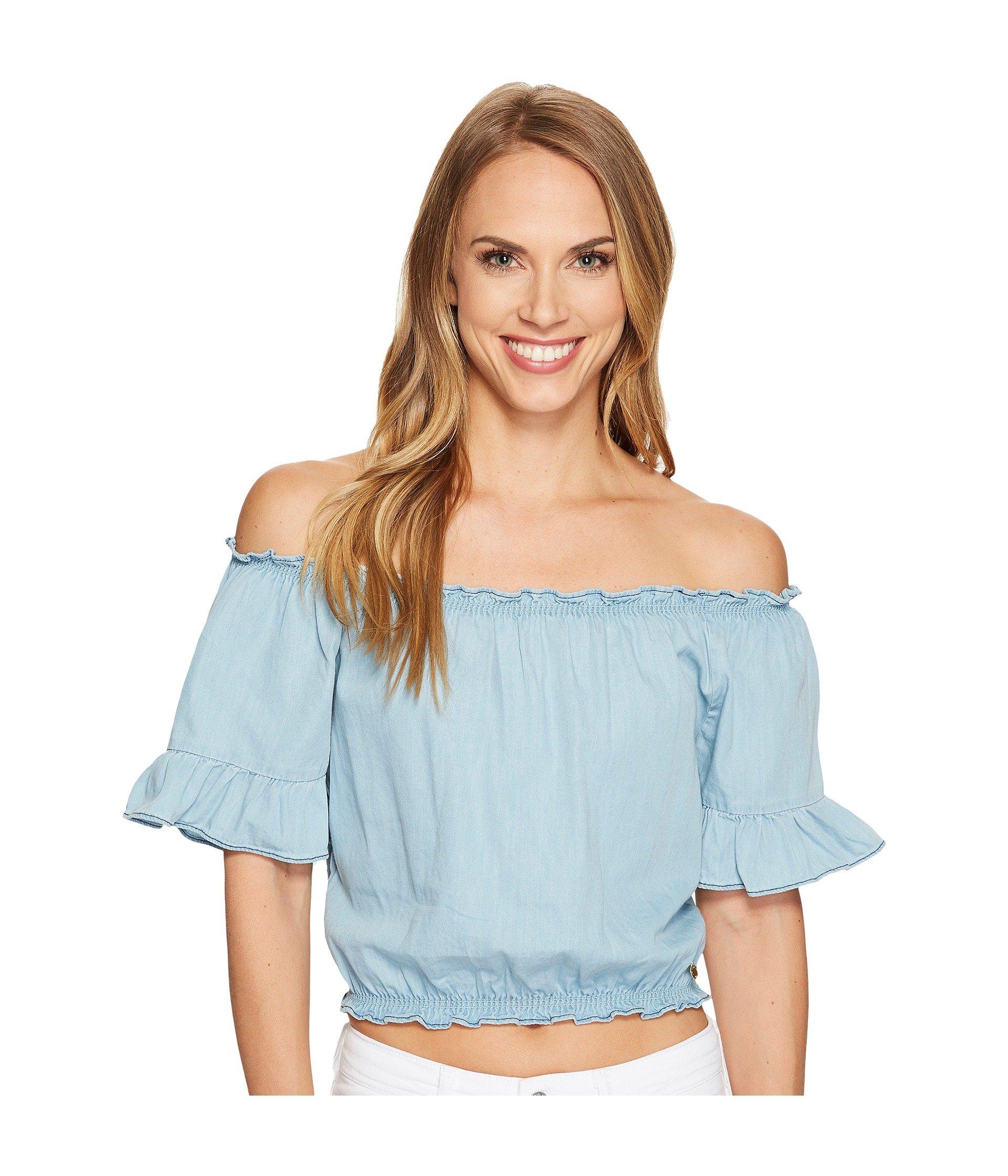 Blusa para Mujer U.S. POLO ASSN. Denim Off the Shoulder Crop Top  + U.S. POLO ASSN. en VeoyCompro.net