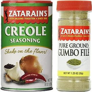 Zatarain's Cajun Seasoning Bundle - 1 each of Zatarain's Creole Seasoning 8 Ounces and Zatarain's Gumbo File' 1.25 Ounces