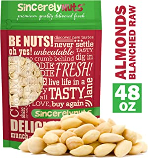 Sincerely Nuts – Whole Raw Blanched Almonds | 3 Lb. Bag | Delicious Guilt Free Snack | Low Calorie, Vegan, Gluten Free | Gourmet Kosher Food | Source of Fiber, Protein, Vitamins, Minerals
