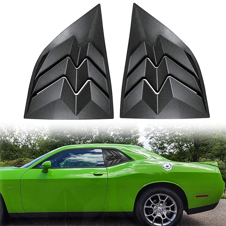 E-cowlboy for 2008-2019 Dodge Challenger Matte Black Side Window Scoop Louvers, ABS Window Visor Cover, Sun Rain Shade Vent