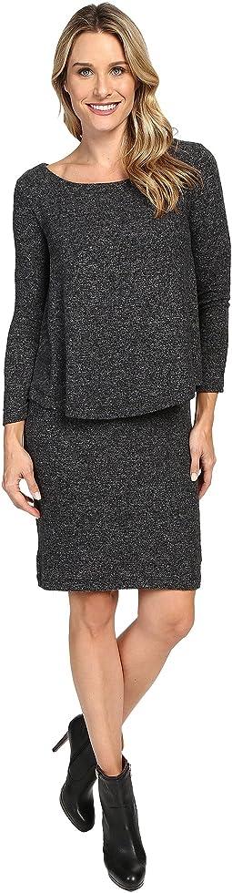 Long Sleeve Brushed Sweater Overlay Dress