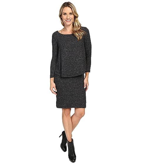 NALLY & MILLIE Long Sleeve Brushed Sweater Overlay Dress, Black
