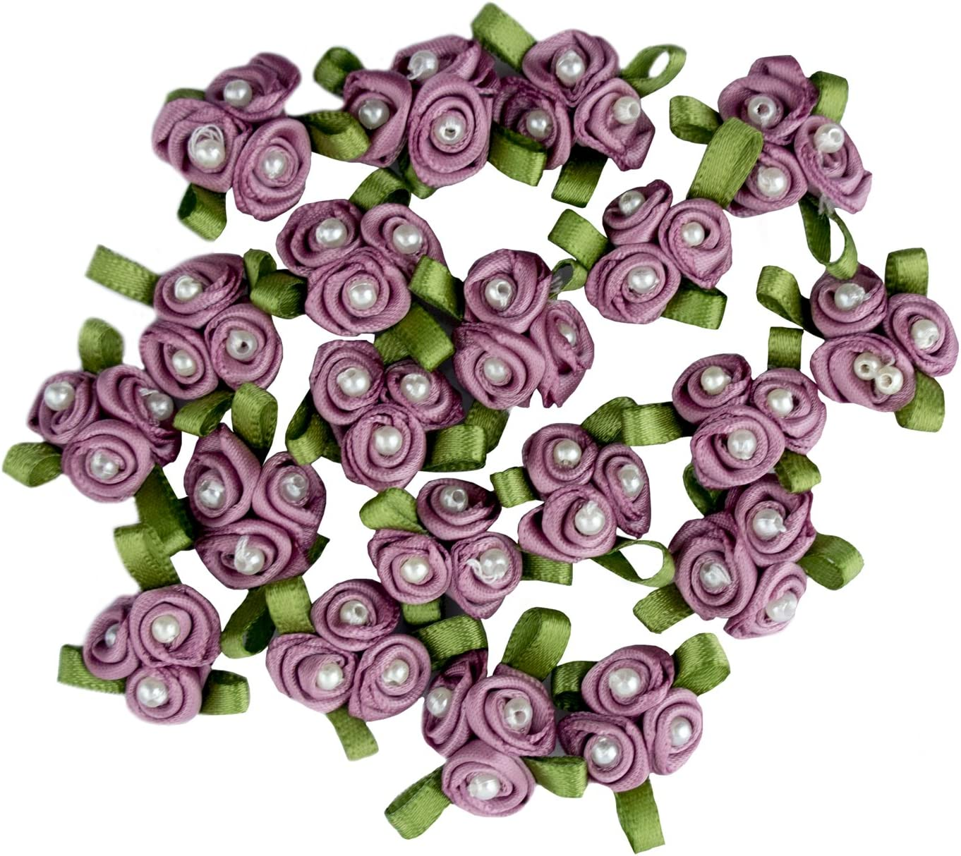 Pack of 20 HAND Pretty 3 Pearls Burgundy Ribbon Roses Trims for Clothing and Accessory Embellishment