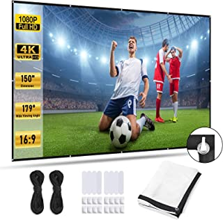 Xcellent Global Projector Screen 150-inch, Portable Anti-Crease 16:9 HD Home Cinema Portable Thickened Projection Screen, ...