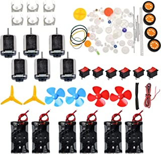 6 Set Dc Motor Kit Homemade DIY Project Kits: DC Motors,Gears,propellers,AA Battery case, Cables,on/Off Switch for DIY Science Projects