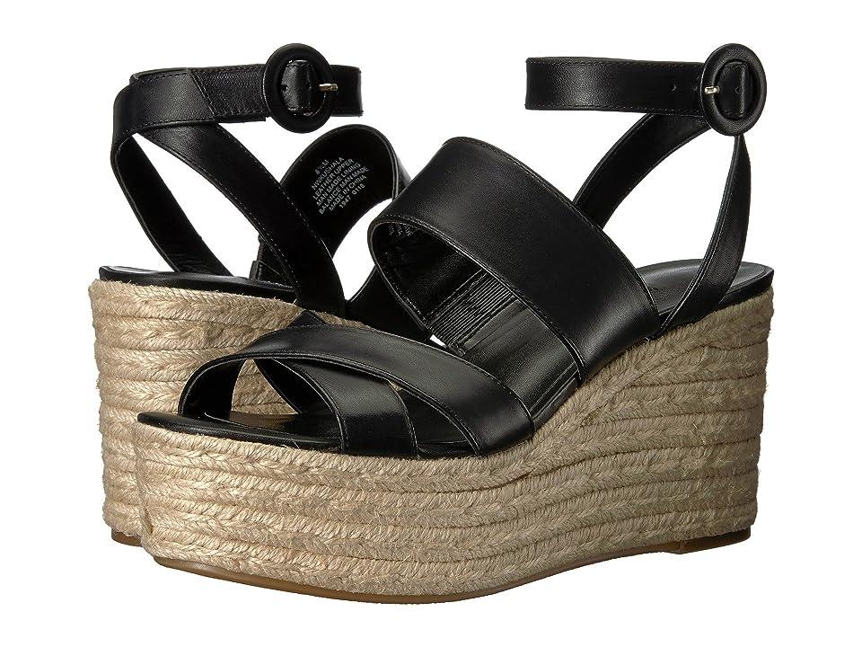 Nine West Kushala Espadrille Wedge Sandal (Black Leather) Women