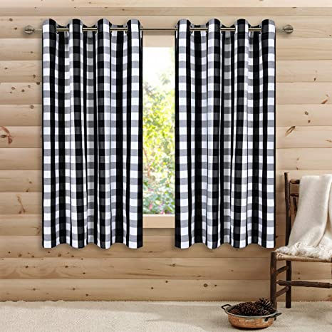 Amazon Com Black And White Buffalo Checker Plaid Curtains For Farmhouse Bedroom Gingham Light Filtering Window Drapes Grommet Curtains For Living Room Set Of 2 Panels Each Is 52wx54l Home Kitchen
