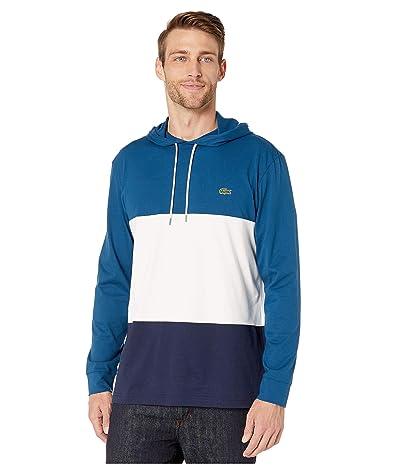 Lacoste Long Sleeve Color Block Jersey T-Shirt (Navy Blue/Flour/Raffia Matting) Men