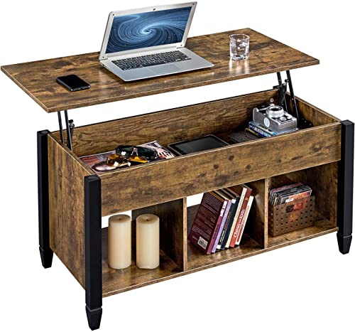 YAHEETECH Lift Top Coffee Table with Hidden Compartment & Shelf, Rustic Style Lift Tabletop Dining/Center Table for L...
