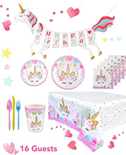 Unicorn Party Birthday Supplies Kit High Quality Serves 16 Guests, includes a Table Cover, a Unicorn Banner, Cute Cups, Colorful Cutlery, 2-set Plates. Perfect to Host a Special Party for Your Girl