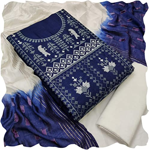 Women s Linen Cotton Kasmiri Work And Embroidery Work With Multi Colored dress material salwar suit piece