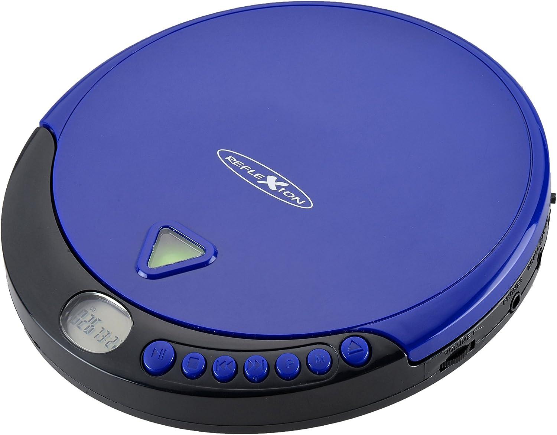 Reflexion Pcd510mf Tragbarer Cd Mp3 Player Mit Ukw Radio Hörbuchfunktion Ohrhörer Netz Batteriebetrieb Blau Heimkino Tv Video
