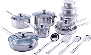 Mainstays Stainless Steel 18 Piece Cookware Set, with Kitchen Tools and Mixing Bowls