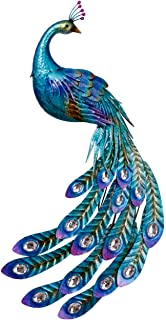 TERESA'S COLLECTIONS 41.5 Inch Peacock Stake and Metal Wall Art Décor, Dual Use Garden Artwork for Outdoor Patio Yard Indo...