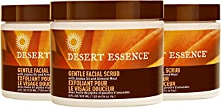 Desert Essence Gentle Facial Scrub - 4 Fl Oz - Pack of 3 - Jojoba Oil - Almond Meal - Oat Buff Skin - Aloe Vera - Removes ...