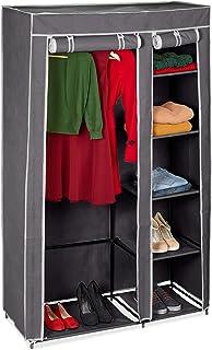 Relaxdays Armoire pliante avec housse Penderie avec revêtement en tissu VALENTIN XL 5 compartiments et 1 tringle à vêtemen...