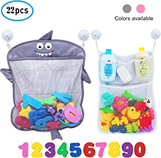 Comfylife Baby Bath Toy Organizer - Shark (2 Bath Toy Storage Nets, 8 Toy Numbers & 10 Strong Hooks) – Great Bath Net for Kids – Cute Bathtub Toy Organizer and Bath/Shower Caddy Storage Solution