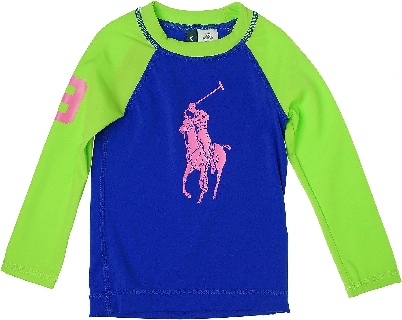 Ralph Lauren Girl's Rash Guard Shirt Blue/Green 2/2T