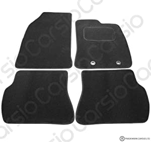 Carsio Tailored Black Carpet Car Mats for Ford Fiesta 2002-2008  MK6  Piece Set with Oval Clips
