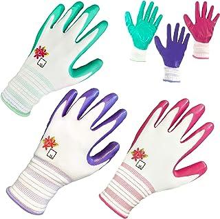 دستکش باغی ArtAK دستکش باغبانی زنانه زنانه 3 جفت گیاهی با پوشش تنفسی بانوی محافظ در فضای باز دستکش کار زنان اندازه متوسط گوانتس پارا ژاردین موجر ژاردینریا