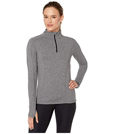 Jockey Active 1/2 Zip Long Sleeve Top with Thumbholes (Deep Black Melange) Women