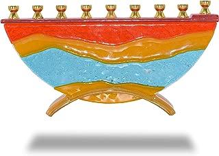 Ner Mitzvah Glass Candle Menorah - Fits All Standard Chanukah Candles - Handcrafted Desert Miracles Glass Painted Hanukkah Menorah