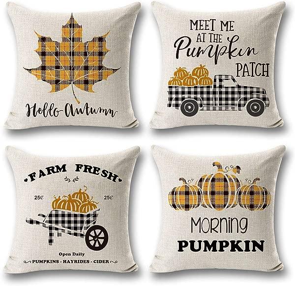 CARRIE HOME Buffalo Check Plaid Fall Maple Leaf Pumpkin Throw Pillow Cases Autumn Farmhouse Decorative Thanksgiving Throw Pillow Covers 18x18 Set Of 4