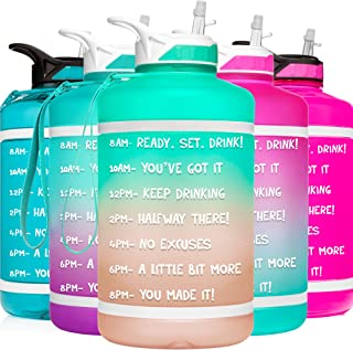 HydroMATE 64 oz Half Gallon Motivational Water Bottle with Straw and Handle with Time Marker Large Reusable BPA Free Jug T...