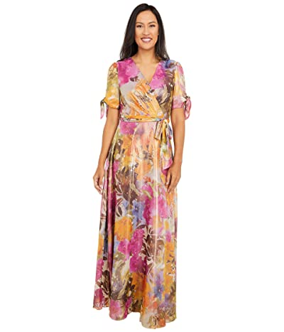Tahari by ASL Shimmer Georgette Printed Gown (Wild Aster Garden) Women