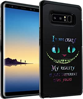 Galaxy Note 8 Cheshire Cat Quotes Case, IMAGITOUCH 2-Piece Style Armor Case with Flexible Shock Absorption Case and Alice in Wonderland Cheshire Cat Cover for Galaxy Note 8 – Cheshire Quotes